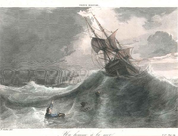 Homme solitaire dans la mer construire